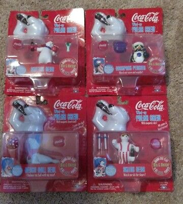 NIP Coca Cola Lot Of 4 Wind Up Polar Bear Crew 1998 Figurines Trend Masters New