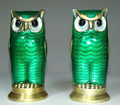 David Andersen Norway Sterling Guilloche Enameled Owl Salt Pepper Shakers