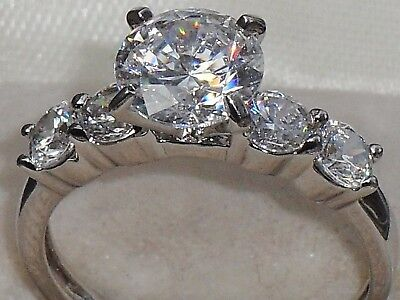 ART DECO STYLE FINE 1.75ct DIAMONIQUE 5 STONE AFFORDABLE ENGAGEMENT PROMISE RING