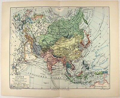 Original 1905 Map of Asia by Meyers