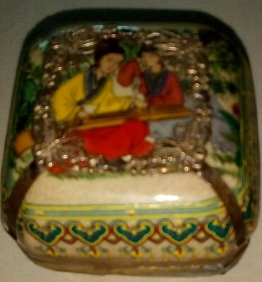 Beautiful Small Antique Asiatic Covered Dish Made of Porcelain and Metal