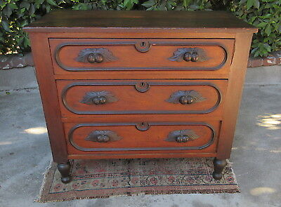 Antique 19th C. 3 Drawer Nut & Leaf Pulls Thick Mahogany Chest of Drawers