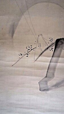 180 CM! ANTIQUE JAPANESE MEIJI c1900 SCROLL PAINTING - SIGNED