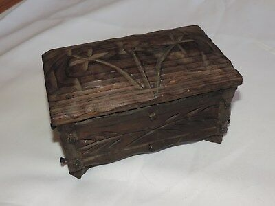 Vintage Wood Box Trinket Jewelry Document Carved Black Forest (h474)