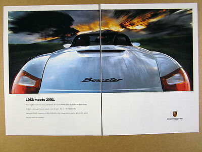 1997 Porsche Boxster '1956 meets 2001' silver car photo vintage print Ad
