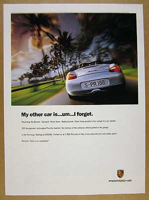 1997 Porsche Boxster silver car rear-view photo vintage print Ad