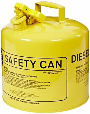 """Eagle UI-50-SY Type I Metal Safety Can, Diesel, 12-1/2"""" Width x 13-1/2"""" Depth"""
