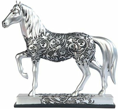 George S. Chen Imports SS-G-11678 Silver Toned Engraved Horse Trotting Statue