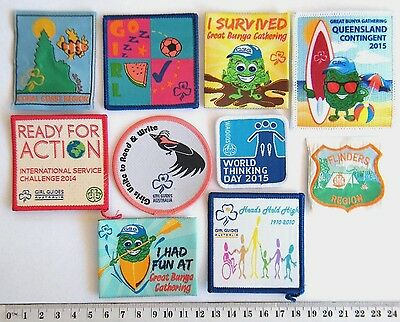 10 x GIRL GUIDE BADGES, includes GG jamboree, events, regions, GG Centenary, etc