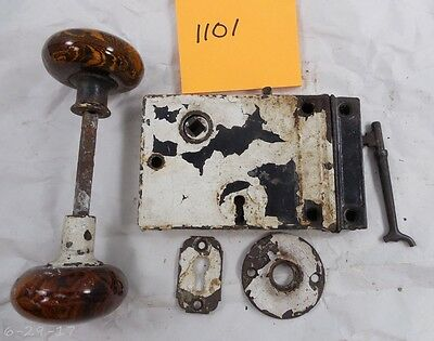 Antique Cast Iron Rim Surface Door Lock - Key - Keeper & Bennington Knobs 1101