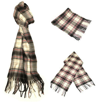 Unisex Ladies Men Fringed Fashion Scarf Tartan Blue Check Plaid Celeb Scarves