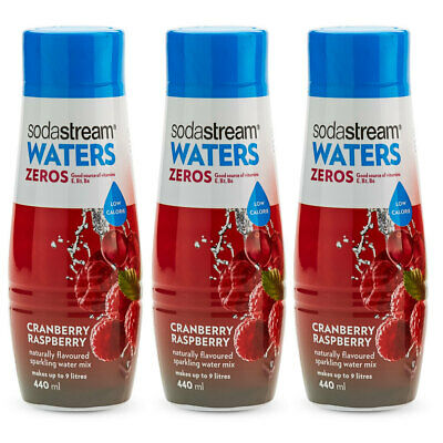 3x SodaStream Zero Cranberry Raspberry 440ml/Sparkling Soda Syrup Mix/Low Sugar