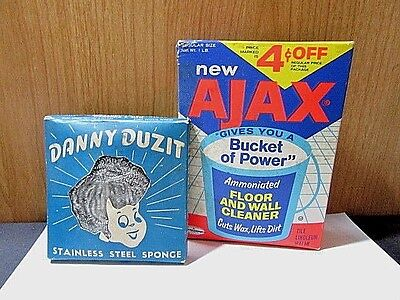 Lot Of Two Cleaning Vintage Advertising Items Ajax Sealed & Danny Duzit Sponge