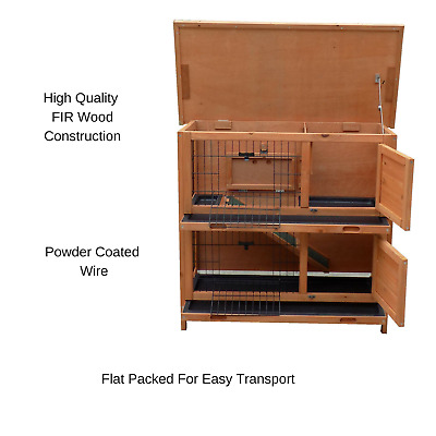 Large Rabbit Hutch W/ BASE Chicken Coop Guinea Pig Pet Cage House 2 Storey Home