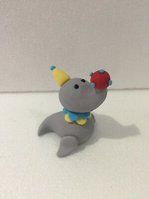 3D Circus Seal With Ball Cake Topper, Gum Paste Edible Circus Birthday Party.