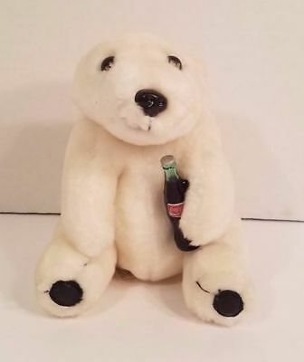 Coca Cola Brand White Polar Bear Cub Plush w/Coke Bottle 1993 Edition 9 in