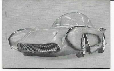 Vintage B&w Arcade Concept Car Card~Ex-Sonic Futuristic Bubble Top 1957 Corvette
