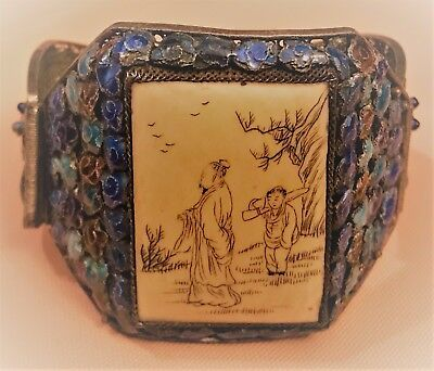 Rare antique Chinese Export Silver Filigree bracelet with Figures