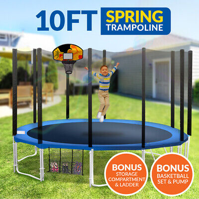 10ft Trampoline Basketball kit Free Ladder Spring Net Safety Pad Cover Round