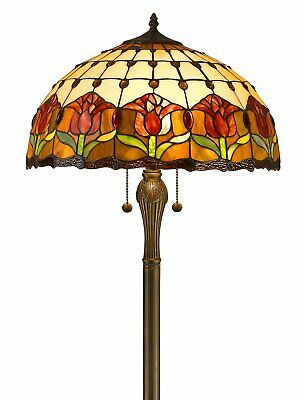 """Amora Tiffany Style Tulips 62"""" Tall 2 Light 352 Stained Glass Pieces Floor Lamp"""