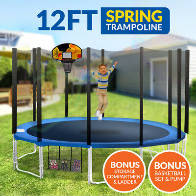 New 12ft Trampoline Basketball Kit Free Ladder Spring Net Safety Pad Cover Round