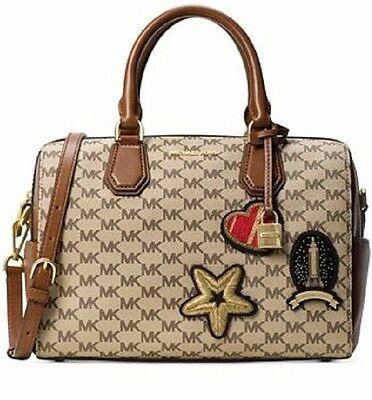 New MICHAEL KORS STUDIO MK LOGO PATCHES MERCER NATURAL LUGGAGE DUFFLE BAG  TOTE fae77c4482310