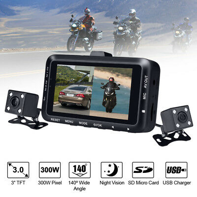 """Motorcycle Car Driving Recorder DVR Action Video Camera Front & Back 3.0"""" LCD"""