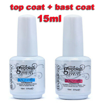 15ml Gel Nail Polish Soak Off LED UV Nail Gel Foundation No Wipe Top Base /Coat