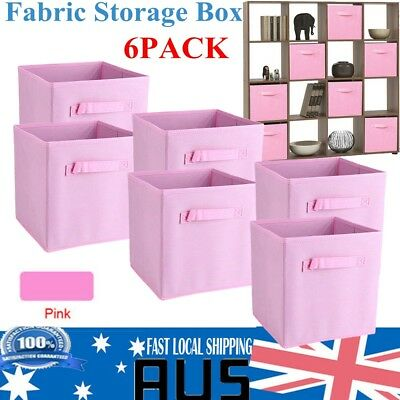 2017 Foldable Square Storage Collapsible Box Clothes Organizer Fabric Cube Pink