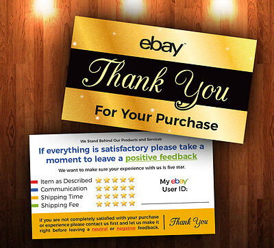 1000 ebay THANK YOU Cards - 5 Star Seller Feedback Customizable Cards