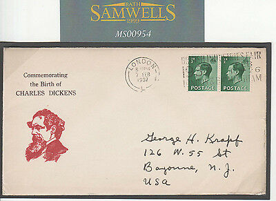 MS954 1937 GB *CHARLES DICKENS* Vignette KEVIII Franking Commemorative Cover USA