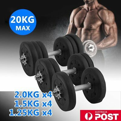 Adjustable Dumbbells Set Home Gym Fitness Strength Weights Exercise 20KG RO