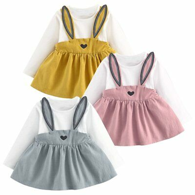 Rabbit Toddler Baby Girls Dress Long Sleeve Party Casual Dresses Kids Clothes