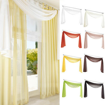 Fashion Tulle Voile Door Window Curtain Drape Panel Sheer Scarf Valances Decors