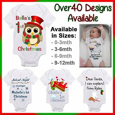 Personalised First Christmas Baby One Piece Romper Customised Name Gift 1st Xmas