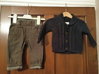 Baby boys brown lined trousers and navy cable knit cardigan 3-6 months (Next)