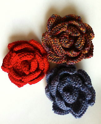 knitting pattern - Quick & easy dk knitted flower ideal brooch hair accessory