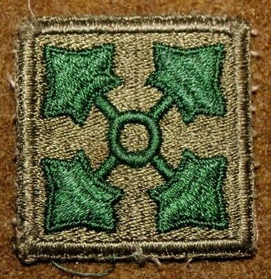 Wwii Ww2 U.s. Army 4Th Infantry Division Cut Edge Patch Utah Beach D-Day