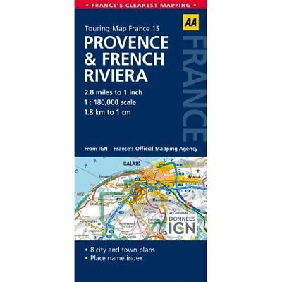 AA Touring Map France Provence & French Riviera Automobile Association (Great Br