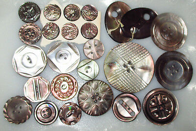 Pretty Lot 25 Antique Mother of Pearl Buttons - Intricate Deeply Carved Smokey