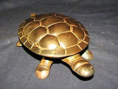 "Vintage Solid Brass Hinged Top Turtle Shaped Trinket Box 6 1/4"" x 3 3/4"" x 2"""
