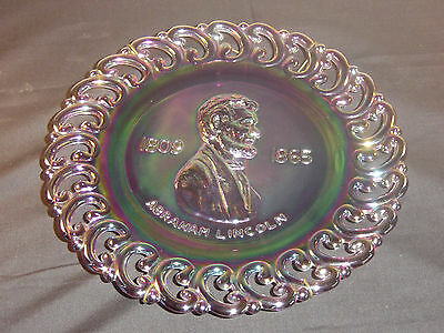 L. E. Smith Abe Lincoln Amethyst Carnival Plate LTD Number 524 of 2500