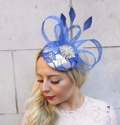 Royal Cobalt Blue Silver Feather Pillbox Hat Fascinator Races Hair Clip 4465