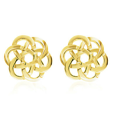 9ct Yellow Gold Celtic Stud Earrings Solid 9ct Gold 13mm Round Knot Design