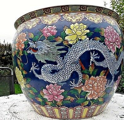 ANTIQUE CHINESE 19th Five Clawed Dragons FISH BOWL Date Mark GuangZhou  c.1868