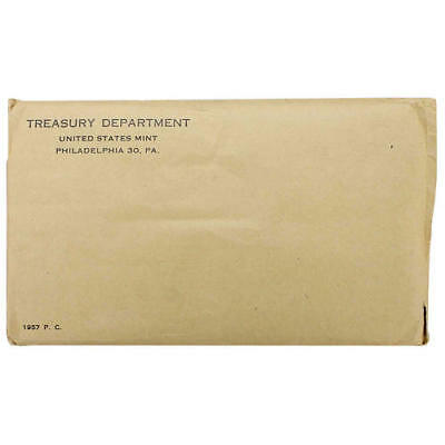 1957 Proof Set Original Envelope 90% Silver Franklin Washington US Mint 5 Coin