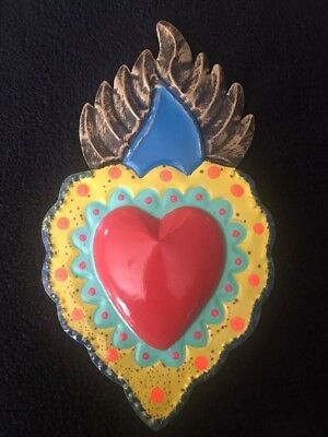 Sacred Heart Mexican Tin Heart  - Folk Art Made In Mexico