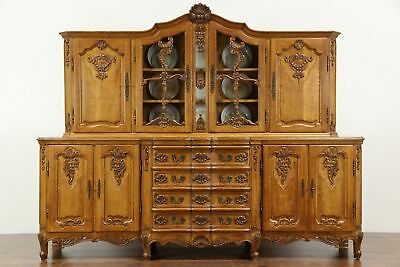 Country French Hand Carved Oak Vintage Provincial Sideboard & China Cabinet