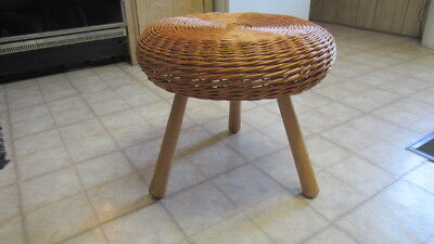 Vintage MCM Wicker Mushroom Footstool / Ottoman with Three Wood / Tripod Legs