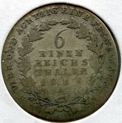 Prussia 1814-A Silver Coin - 1/6 Thaler - German State - AN587